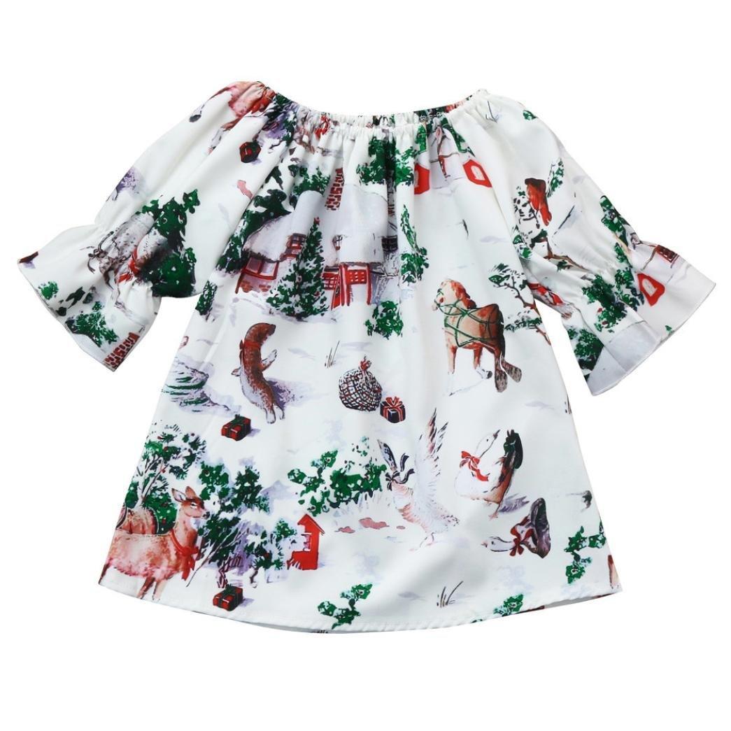 Hirolan Weihnachten Mädchenkleider Kleinkind Baby Prinzessin Kleid Kinder Mädchen Schulterfrei Bluse Karikatur Tiere Drucken Lange Ärmel Kleidung