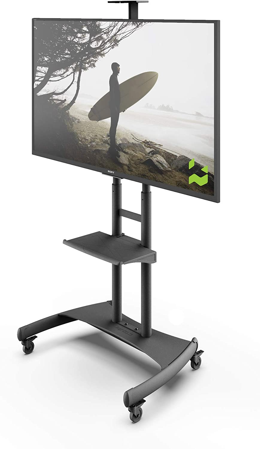 Amazon Com Kanto Mtm82pl Height Adjustable Mobile Tv Stand With Adjustable Shelf For 50 Inch To 82 Inch Tvs Home Audio Theater