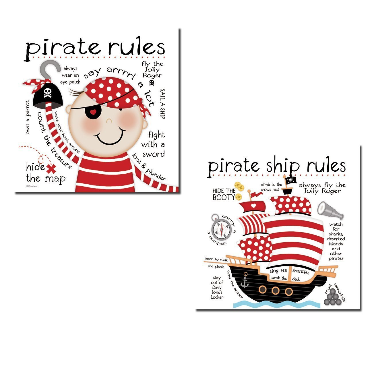 Adorable ''Pirate Rules'' and ''Pirate Ship Rules'' Set; Perfect for a Child's Room or Nursery: Two 12x12in Poster Prints