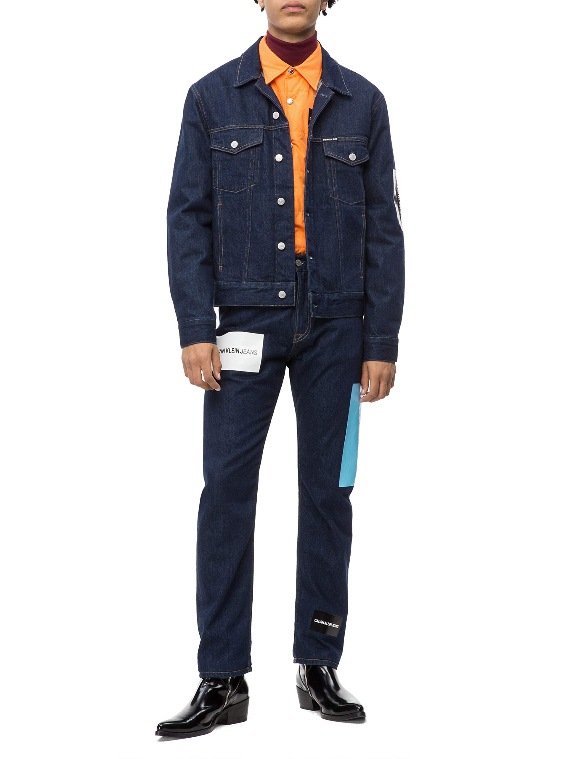 Calvin Klein Men's Denim Trucket Jacket, rinse, Medium