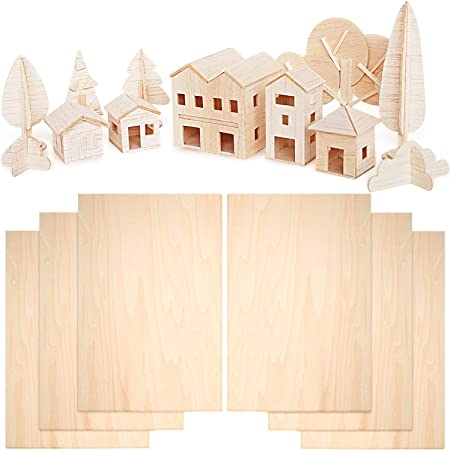 6 Pieces Balsa Wood Sheets 300 x 200 x 1.5 mm Thin Basswood Wood Sheets Hobby Wood Plywood Board for DIY Crafts Wooden Mini House Boat Airplane Model