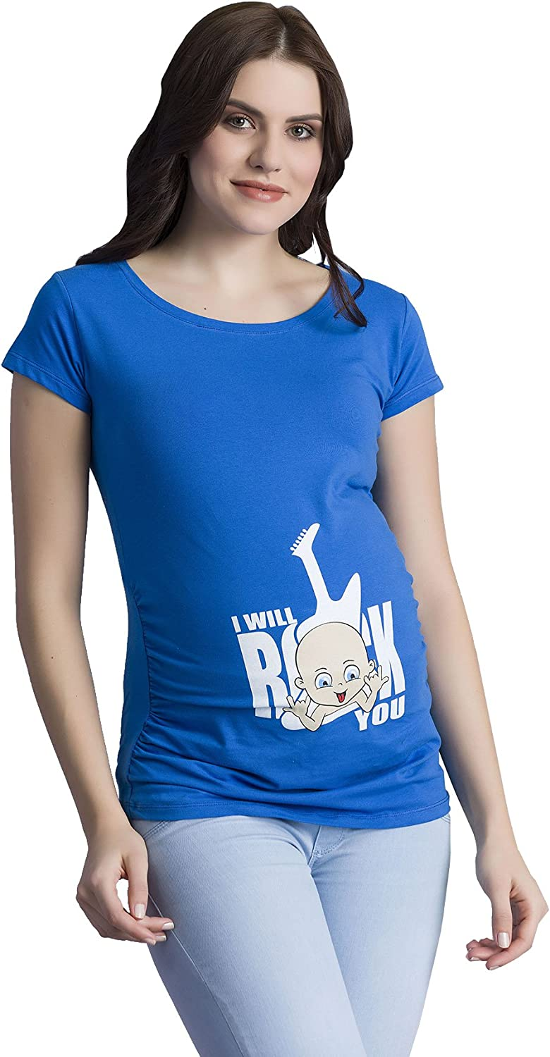 I Will Rock You - Ropa premamá Divertida y Adorable, Camiseta con Estampado, Regalo Durante el Embarazo, Manga Corta