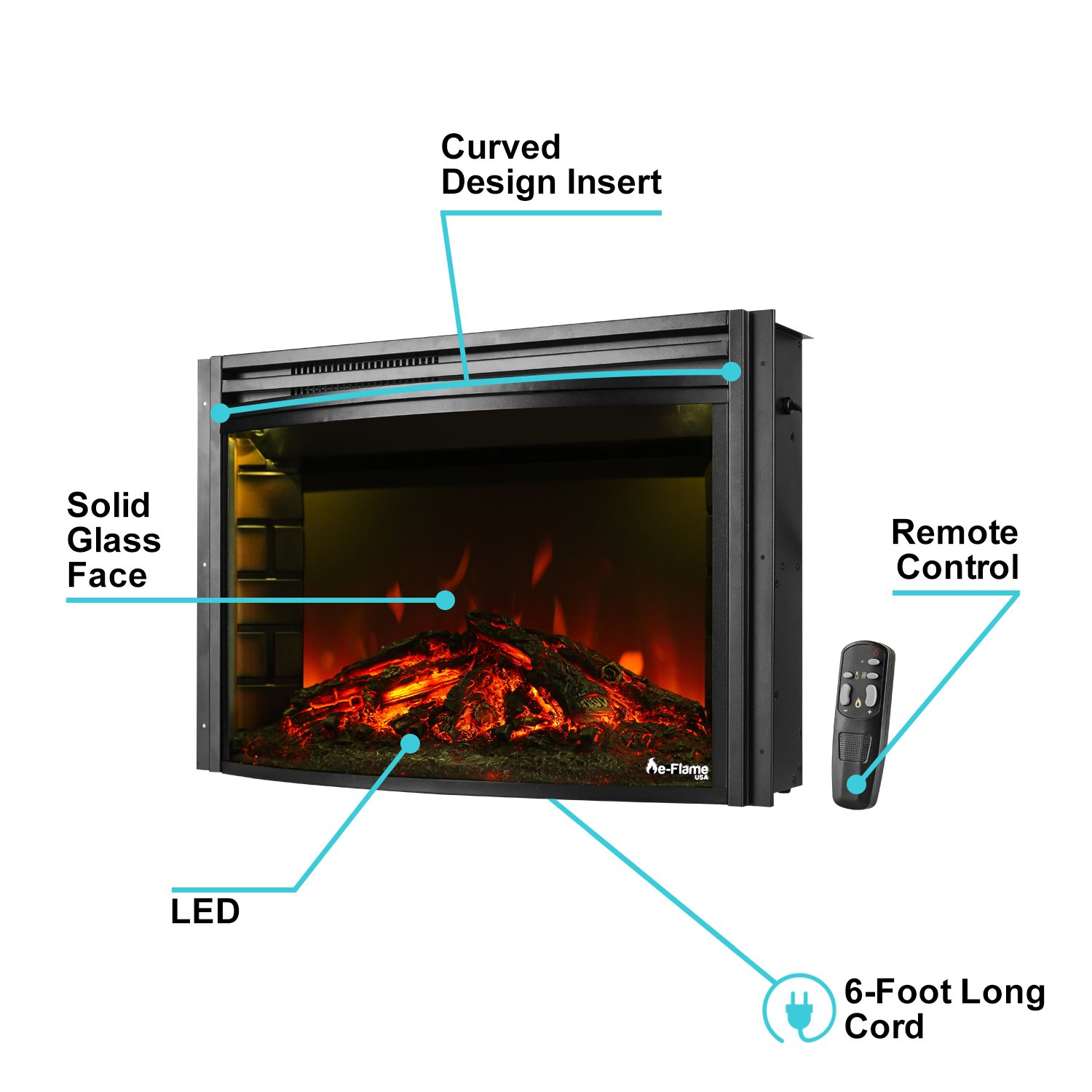 amazon com e flame usa quebec electric fireplace stove insert by
