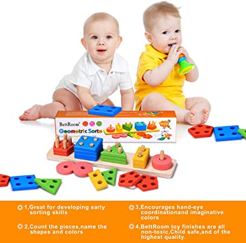 Bojetal Wooden Educational Preschool Toddler Toys for Age 1 2 3 4 5 Years Old Shape Color Recognition Geometric Board Block Stack Sort Chunky Puzzle Kids Children Baby Gift