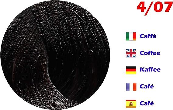 Tinte de Pelo Profesional Café New Color sin Amoníaco 4/07 Permanente 100ml Made in Italy