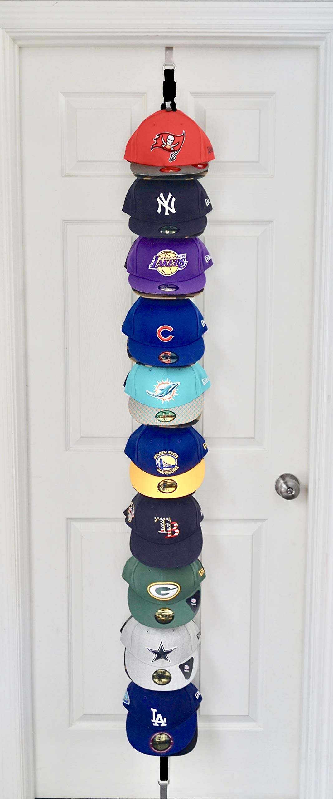 The Clip Hanger Hat Rack Holds 20 Hats on 1 Strap Any Size Any Style Any Shape Wall or Door (Black)
