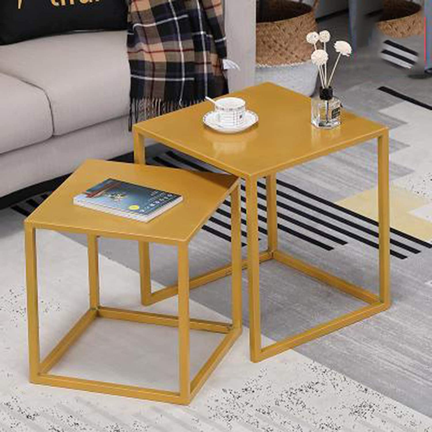 Nest Tables Glossy Coffee Table Set Tables Black Gold Yellow Nesting Tables,Yellow Nesting Small Coffee Table