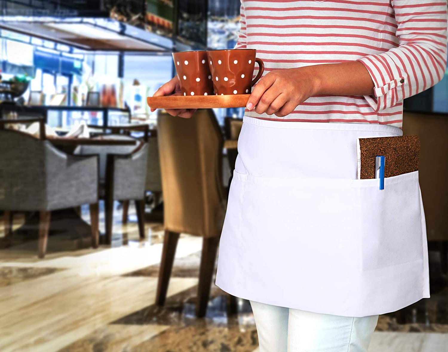 Utopia Wear 12 Pack 3 Pockets Waitress Apron, Waist Aprons for Home and Kitchen, 24 x 12 Inches, Black: Home & Kitchen