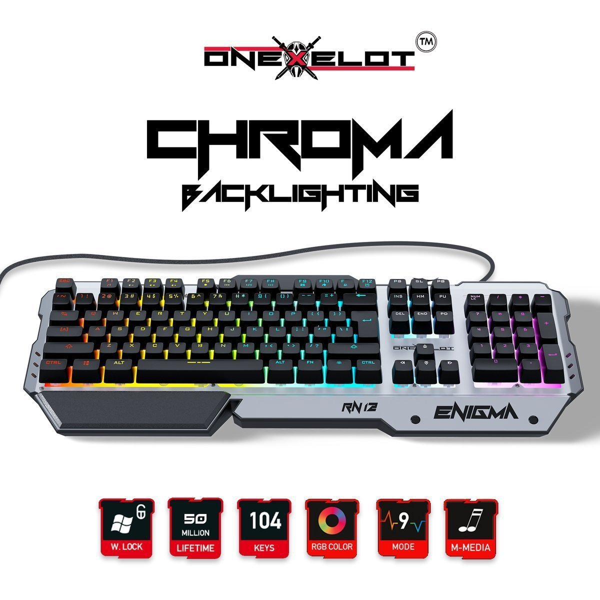 ONEXELOT Aluminum gaming keyboard, USB wired RGB backlit Revolutionary semi mechanical keyboard mod ENIGMA by ONEXELOT (Image #1)