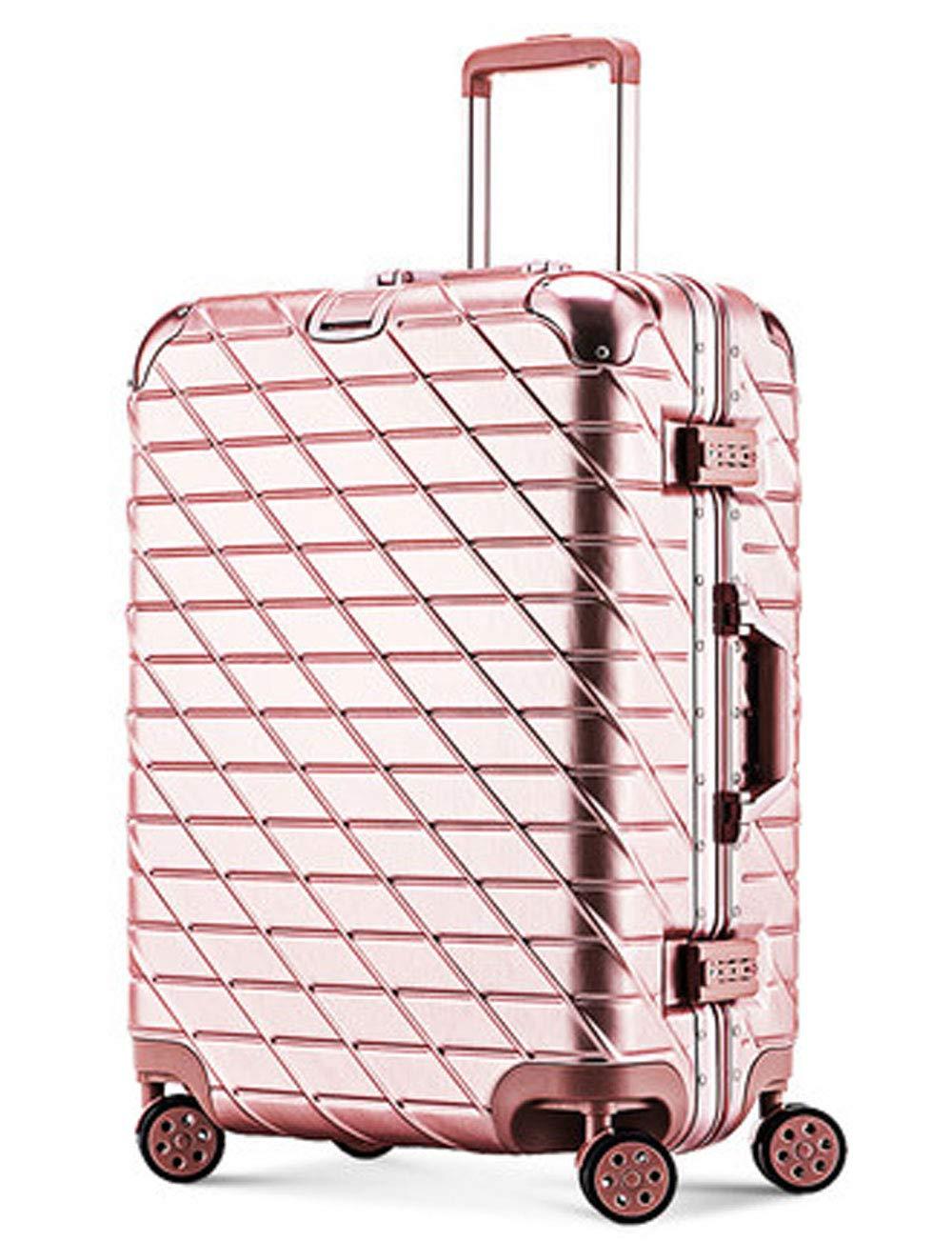 ハードシェルABSの車輪荷物、TSAのパスワードロック、サイレントローラー、伸縮自在のプルロッド、シャーシ36cm * 23cm * 48cmのボードにパスワードを移動 (色 : Pink)   B07GSY5DGW