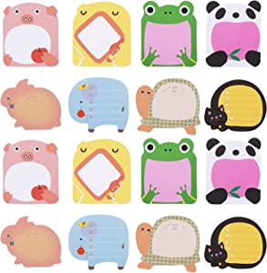 Molain Cute Sticky Notes 16 Pieces Cartoon Sticky Notes Animals Shape Markers Flags Self-Stick Memo Pads Students Home Office Roommates Gifts Tab Supplies