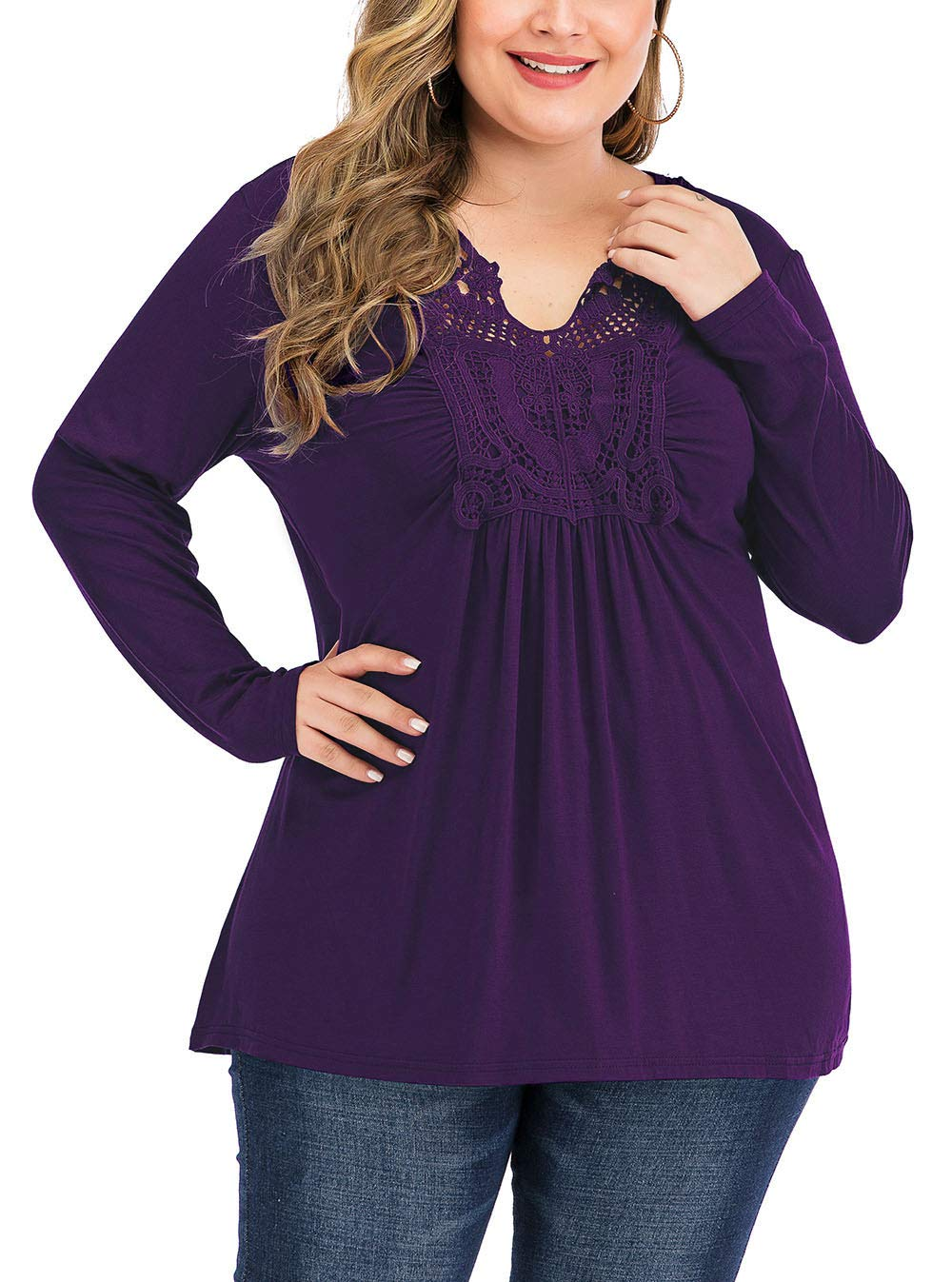 YASAKO Womens Pleated Tops Plus Size V-Neck Lace Blouse Swing T-Shirts Flowy Long Sleeve Casual Tunic,Purple,3XL