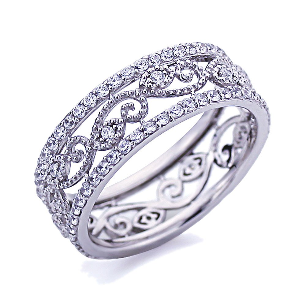 Platinum Plated Sterling Silver 1ct CZ Wedding Band Vintage Style Eternity Ring ( Size 5 to 9 ), 6