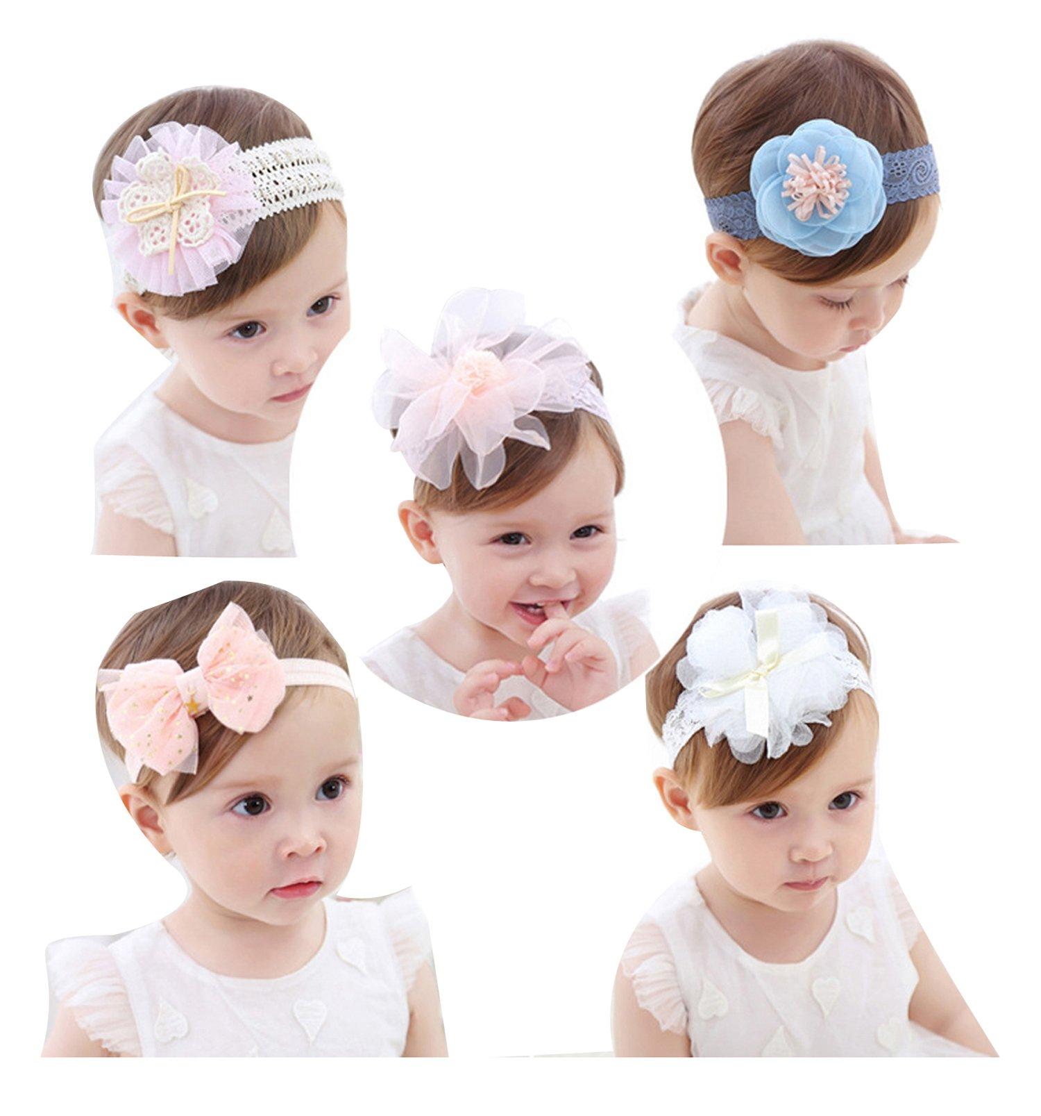 Cute Headband Accessories, 5Pcs Lovely Baby Girls Flower Headbands Photography Props