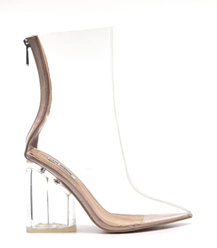 6f8a8510c7 Cape Robbin Crystal Glaze Womens Perspex Lucite Clear Pointy Toe Chunky Heel  Ankle Boots,Nude