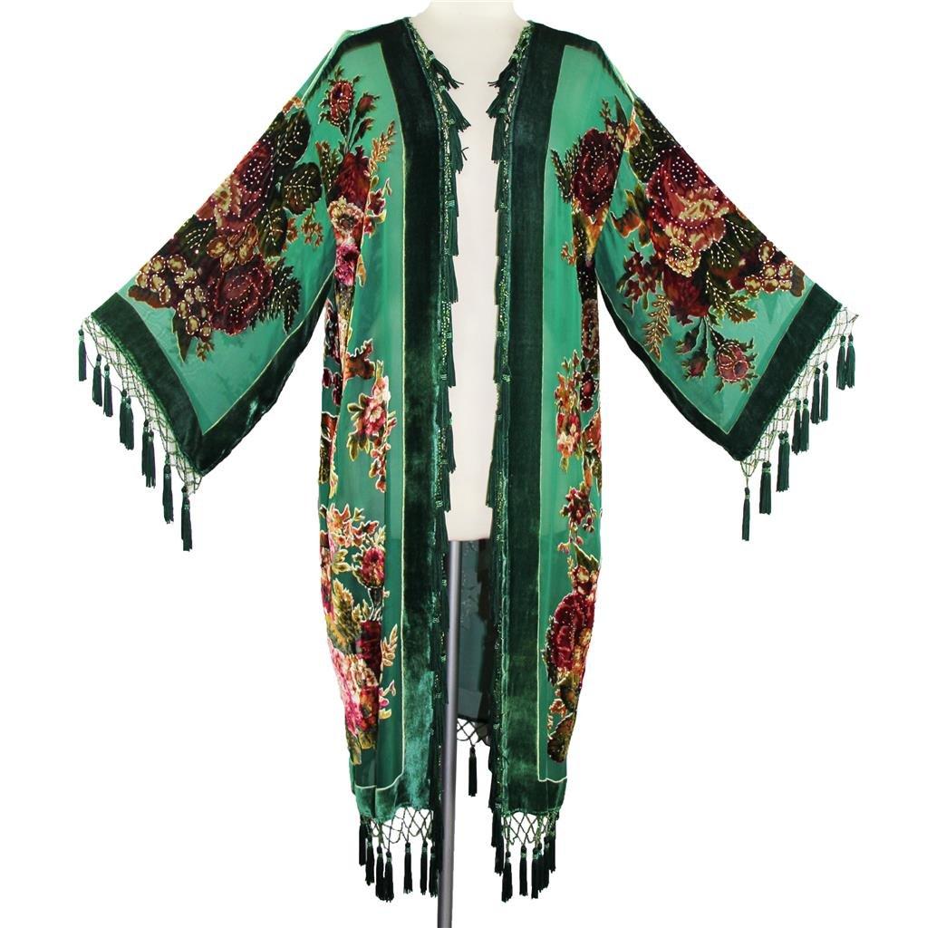 Aris A Women Vintage Floral Silk Burnout Velvet Handmade Beaded with tassels Duster Kimono
