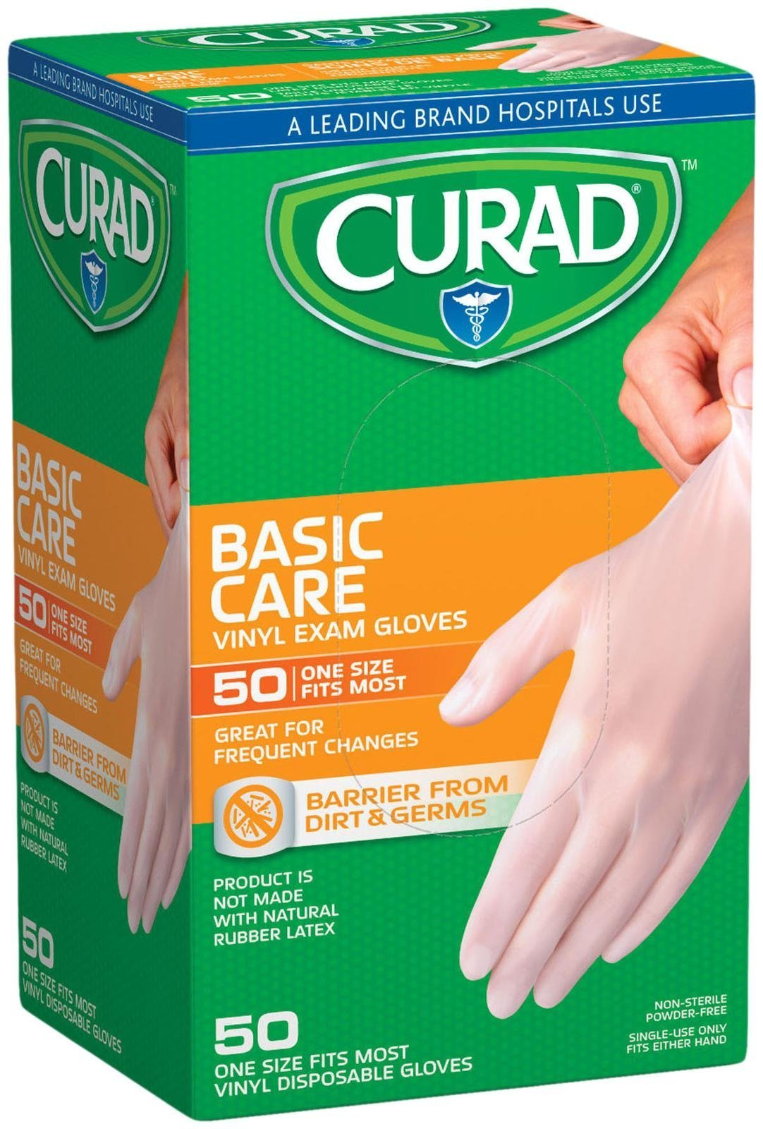 Curad Basic Care Vinyl Exam Gloves - 50 CT