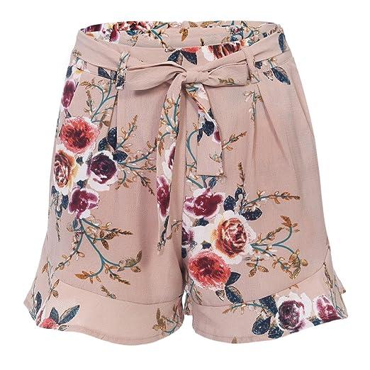 730591f89f DressLily High Waist Floral Print Belt Ruffled Pocket Women Shorts ...