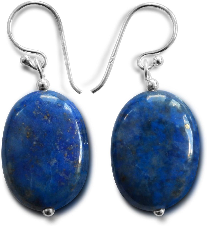 Lapislázuli piedras preciosas gota pendientes, natural, azul, 22 mmX13 mm, 925 plata