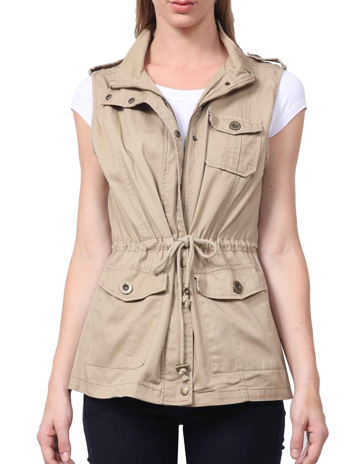 NE PEOPLE Womens Lightweight Sleeveless Short Anorak Style Vest