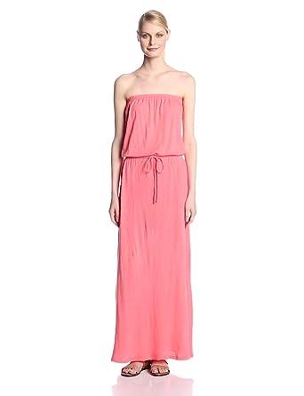 C&C California Women's Slub Jersey Strapless Maxi Dress, Gumball Pink, X-Small