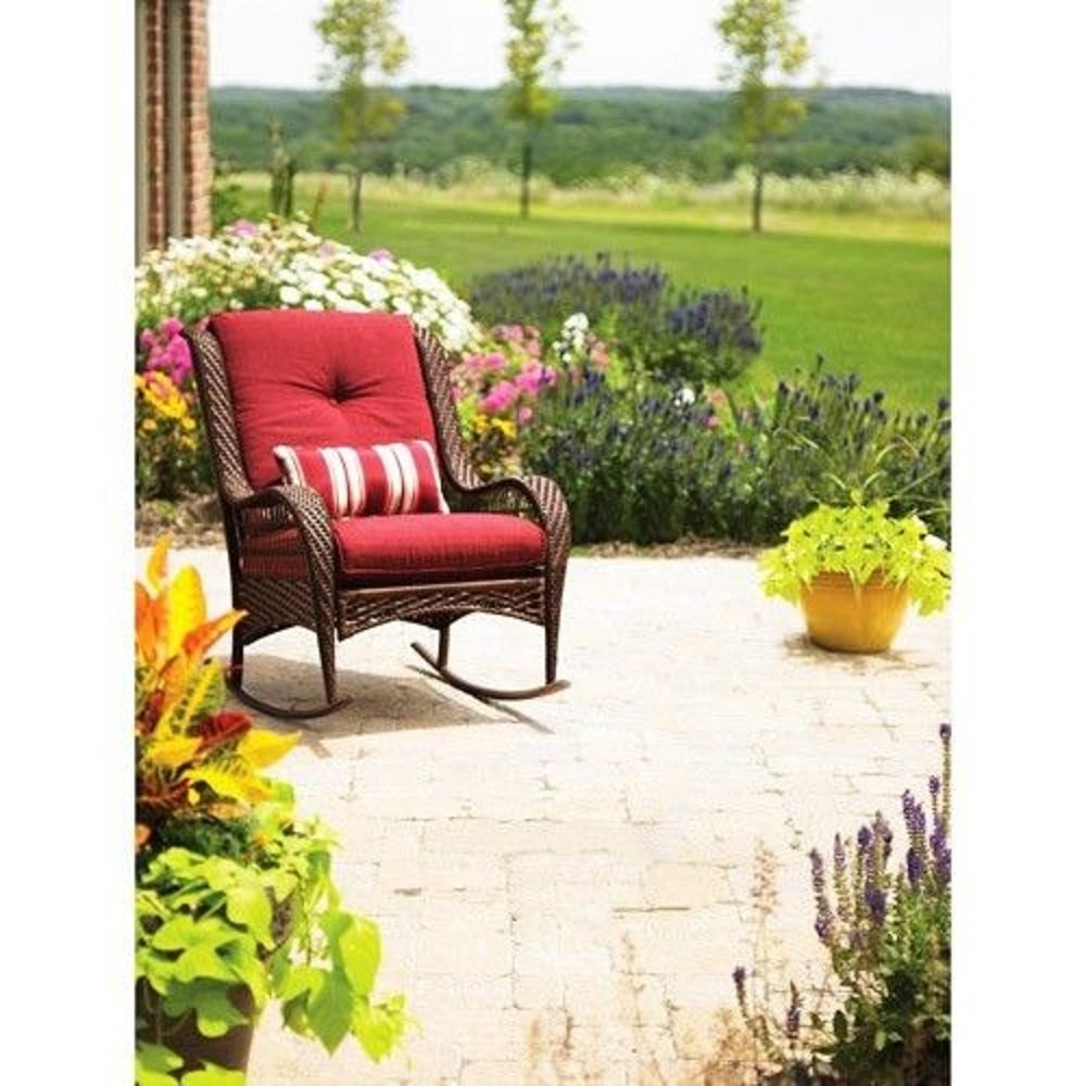 Amazon.com : Better Homes And Gardens Azalea Ridge Porch Deck And Patio  Rocking Chair All Weather Outdoor Wicker Rocker Furniture, 37