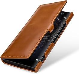 StilGut Housse pour Sony Xperia XA2 en Cuir véritable et à Ouverture latérale, Cognac avec Clip