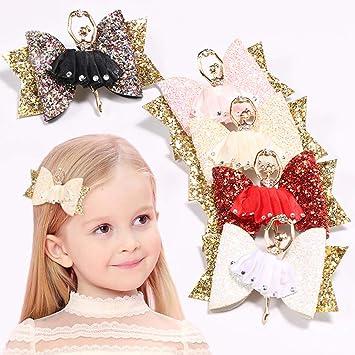 1 Pair Glitter Bow Hair Clips Alligator Hairpins Barrettes Girls Accessori New