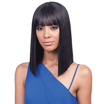 Amazon.com   Bobbi Boss Synthetic Hair Lace Front Wig MLF184 Yara Bang (1B)    Beauty 4ea5d8dc1