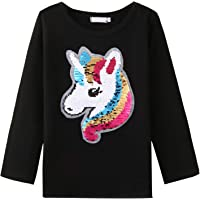 Bricnat Camiseta de manga larga para niña, reversible, con lentejuelas, unicornio, túnica y unicornio