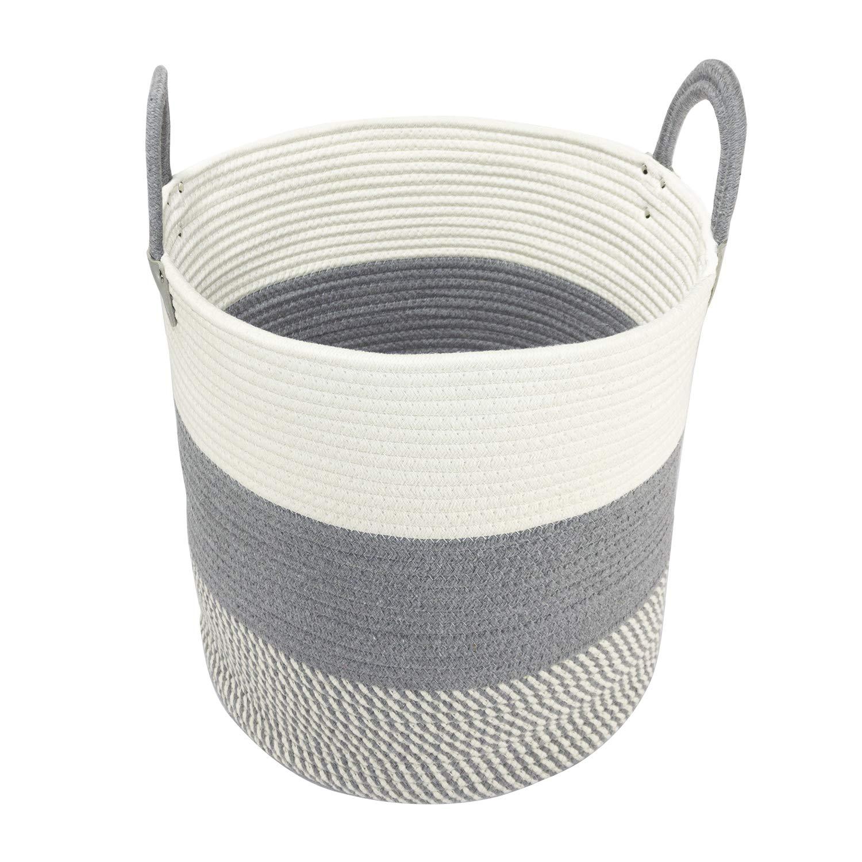 WEMIAO Large Storage Basket Cotton Rope Basket Woven Basket Laundry Storage Basket with Handle, 15.7'' x 16''