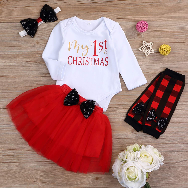 My First Christmas Clothes Baby Girls My 1st Christmas Romper Top+Dot Tutu Skirt+Leg Warmers+Headband 4Pcs Outfit Set