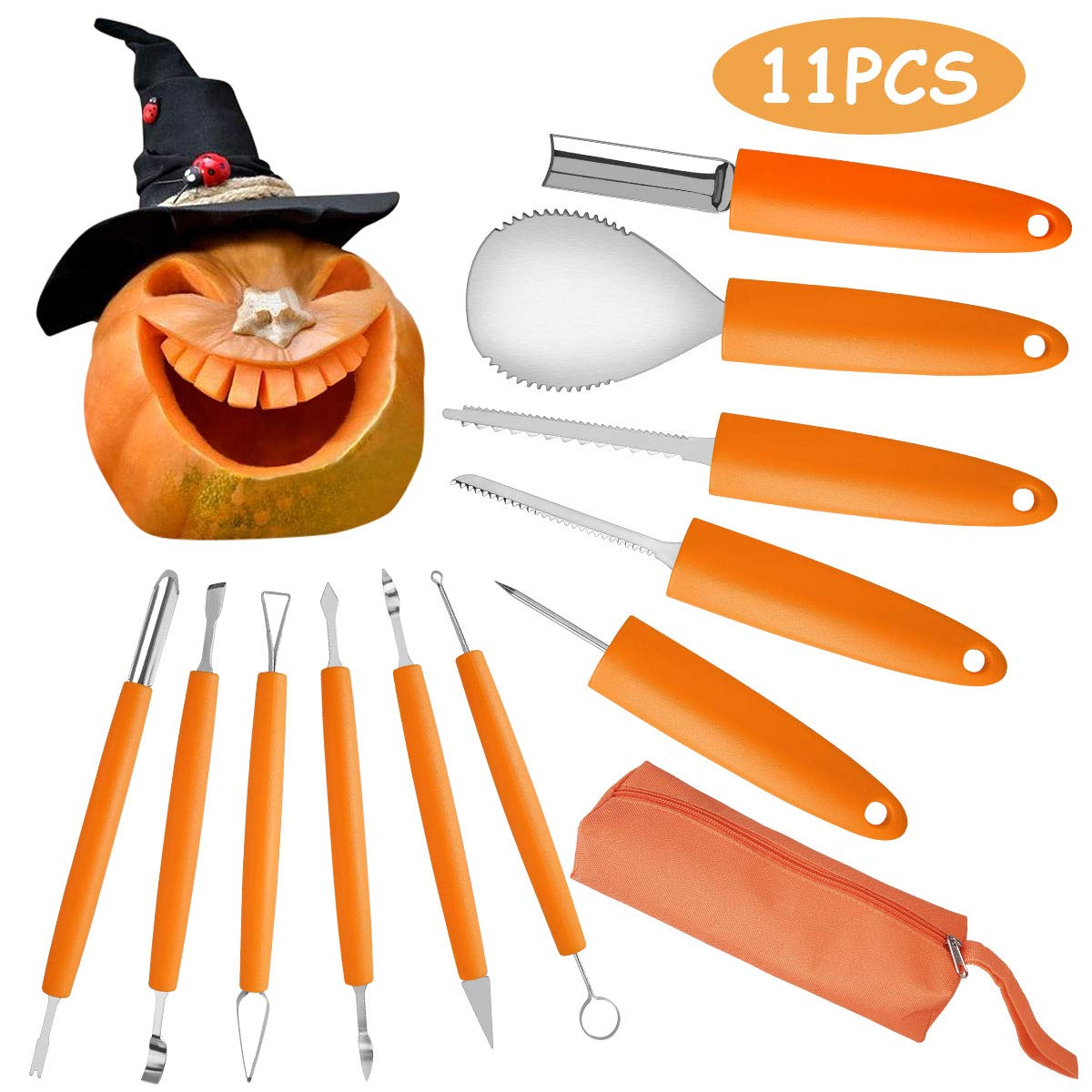 11PCS Halloween Pumpkin Carving Kit, VOIMAKAS Heavy Duty Stainless Steel Carving Tools Set with Storage Carrying Bag for Halloween Decorations, DIY Cutting Tools Carving Knife for Pumpkin by VOIMAKAS
