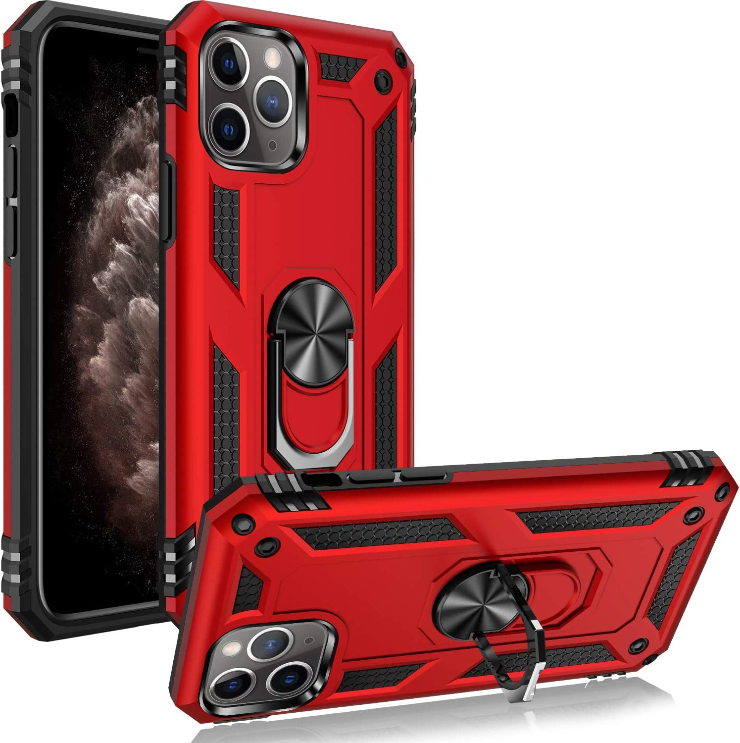 iPhone 11 pro Case 15ft Compatible for Apple iPhone 11 pro 5.8 Inch-Red Drop Tested Protective Case Military Grade Kickstand