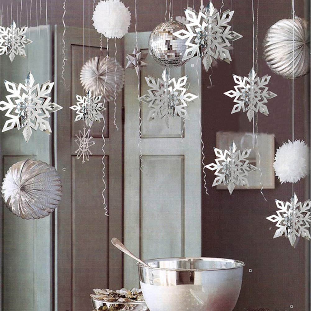 24Pcs Snowflake Christmas Hanging Party Decor Supplies,12PCS 3D Silver Snowflakes & 12PCS 3D White Paper Snowflakes Hanging Garland for Christmas Winter Holiday New Year Wonderland Party Home Decoration