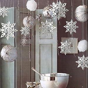 24Pcs Snowflake Christmas Hanging Party Decor Supplies,12PCS 3D Silver Snowflakes & 12PCS 3D White Paper Snowflakes Hanging Garland for Christmas Winter Holiday New Year Wonderland Party Home Decoration