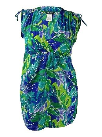 4c4012029c32d Lauren Ralph Lauren Women s Lush Tropical Farrah Dress Cover-Up Blue  Swimsuit Top