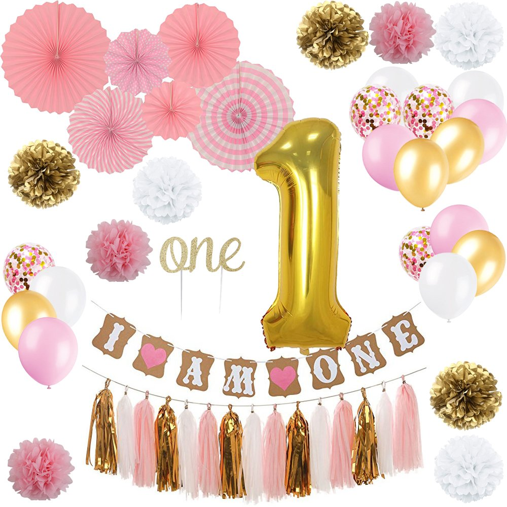 "YAYJOY First Birthday Decoration Set for Girl,Number 1 foil Balloon, I AM ONE Banner, ""ONE"" Cake Topper,Fiesta Pink Hanging Paper Fan Flower,Tassel Garland,Pom Poms and Latex Balloon"