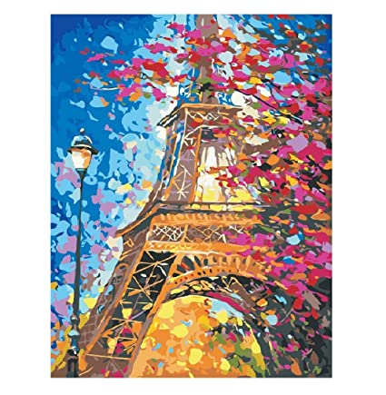 Amazon Com Karyees Diy Paint By Number Eiffel Tower Canvas Painting