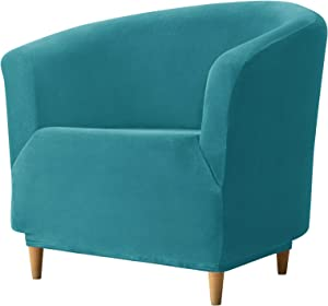 REECOTEX Velvet Club Chair Slipcover, Soft Stretch Tub Chair Cover for Living Room and Bedroom, Washable and Removable Armchair Protector, Furniture Protector for Home Decor,Turquoise