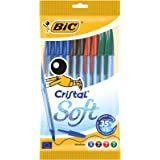 BIC Cristal Soft Stylos-Bille - Couleurs Assorties, Pochette de 10