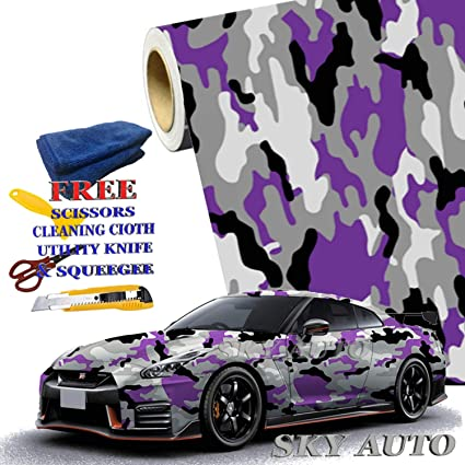 92ce113632 Amazon.com  Sky Auto INC Purple Black White Gray Camouflage Vinyl ...