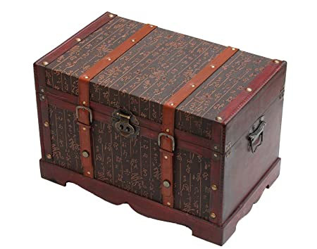 Wooden Storage Trunk/Chest/Coffee Table Chinese Character Pattern(Faux  Leather)