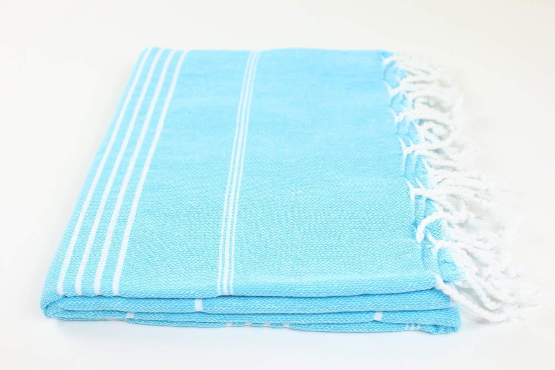 SALE Turkish Towel MADE IN TURKEY Fouta Peshtemal Striped Beach Bath Spa Yoga HammamGIFT IDEA Gym Pool Towel Wrap Pareo GENUINE 100% Turkish Cotton LONGER LIFESPAN (Turquoise Blue)
