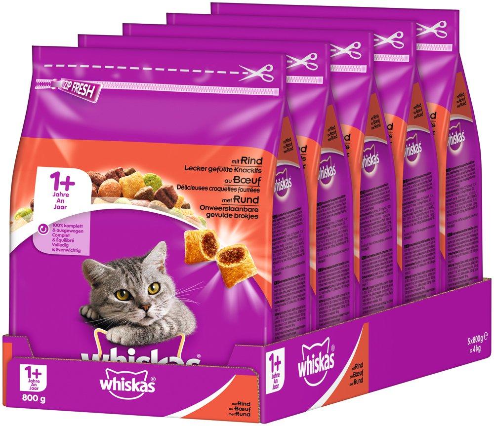 Whiskas Gato Forro trockenfutter Adult para Gatos a Partir de 1 años con Vacuno (5 x 800 g): Amazon.es: Productos para mascotas