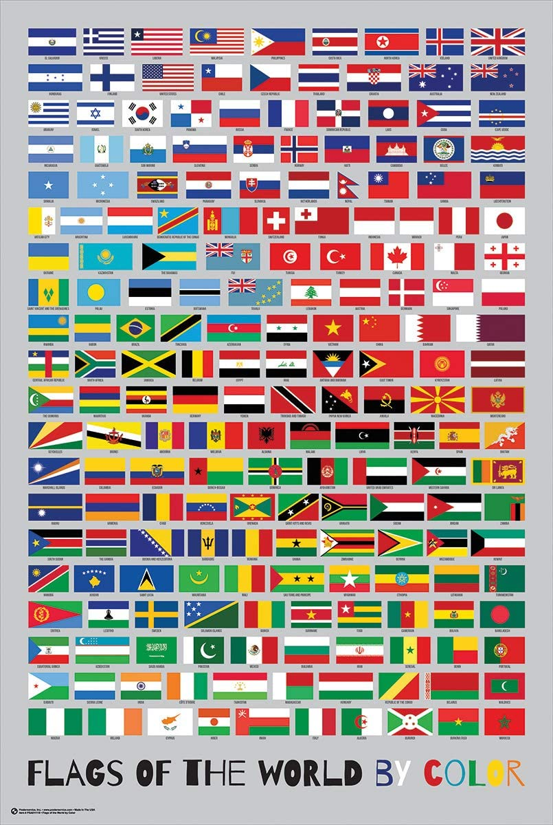World Map Poster With Country Flags White Framed Ready To Hang Frame Free P/&P