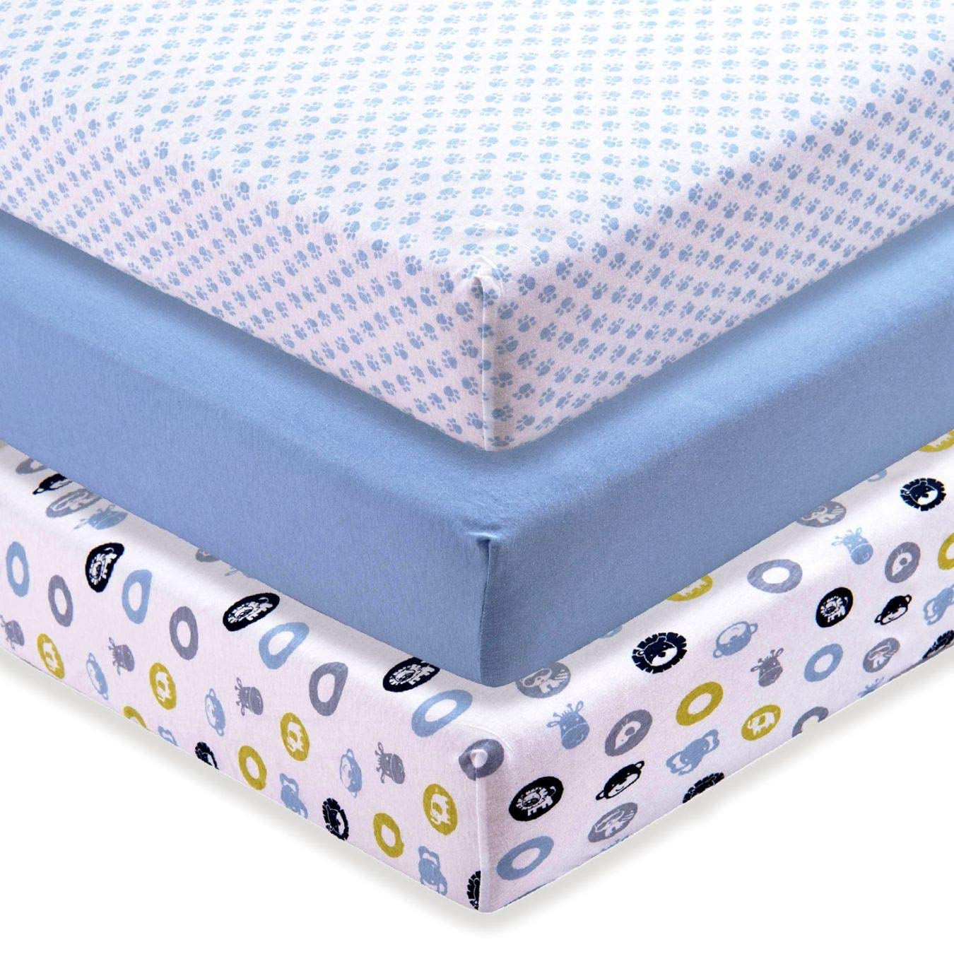 M&Y Crib Sheets Boys (3-Pack) | Ultra-Soft 100% Jersey Knit Cotton | for Standard Crib, Toddler Mattress (52x28x9 inch)
