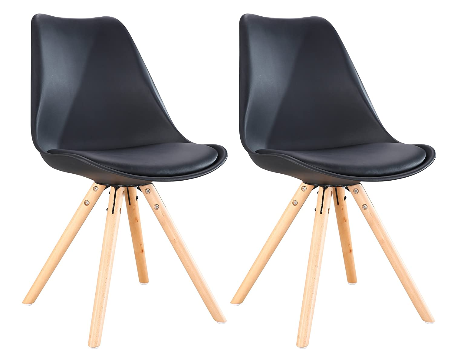 OYE HOYE Retro Dining Chairs/Office Chairs - Set of 2 Chairs for Bedrooms Living Room with Wood Leg, Soft Padded Seat & Durable - Black SEASONAL WALKS