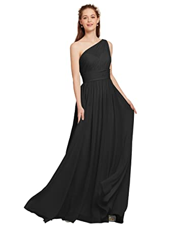 9b87743784660 AW Maxi Bridesmaid Dress One Shoulder Prom Dresses Chiffon Formal Dresses  for Women, Black,
