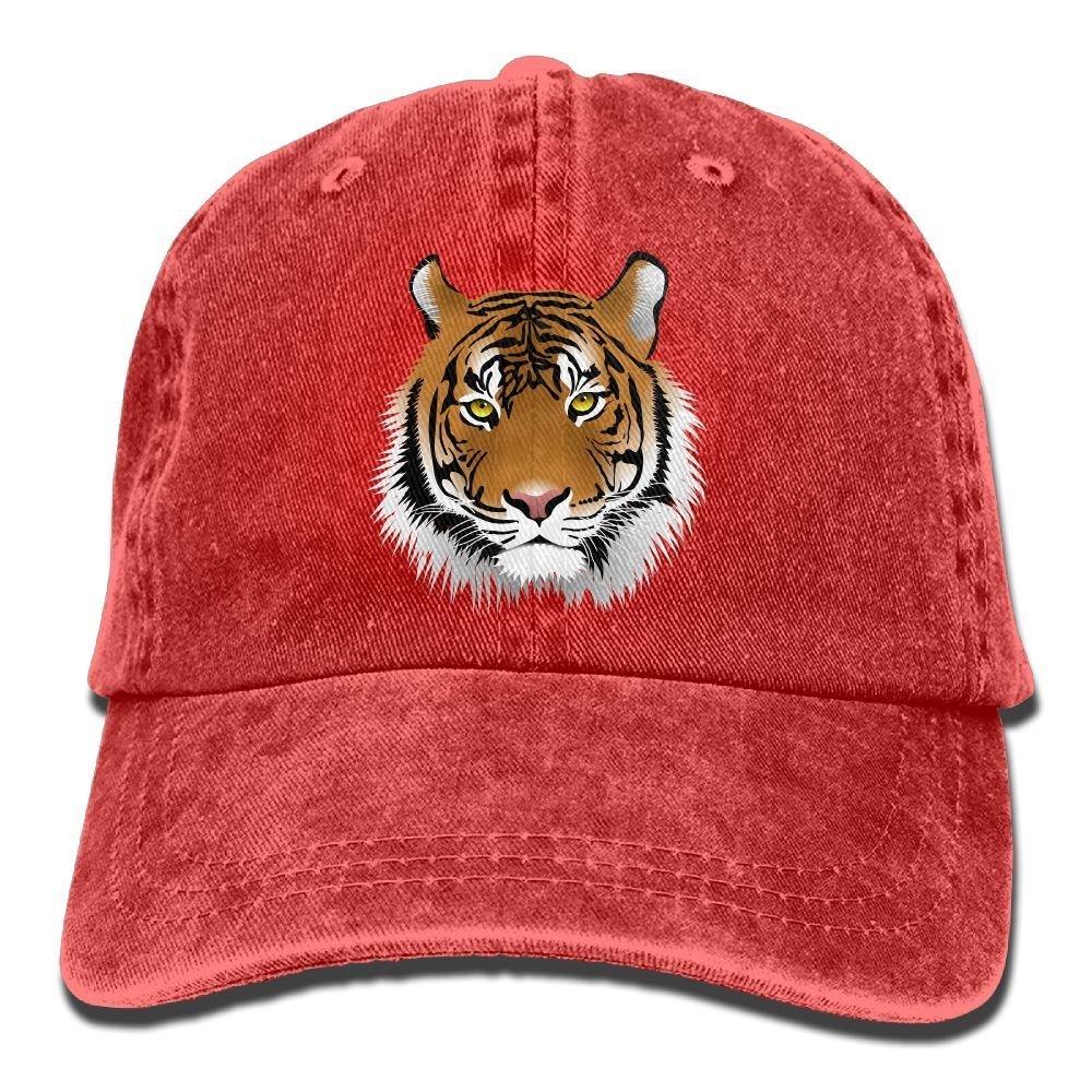 CustomHK Men Women Tiger Face Adjustable Jeans Baseball Cap Trucker Hat